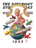 """Airships Circling Baby New Year,"" Saturday Evening Post Cover, January 2, 1932 Giclee Print by Joseph Christian Leyendecker"