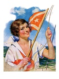 """Woman with Signal Flag,""July 7, 1928 Giclee Print by Bradshaw Crandall"