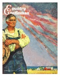 """Farming for the War Effort,"" Country Gentleman Cover, June 1, 1945 Giclee Print by Benton Clark"