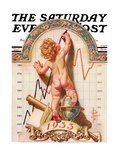 """Baby New Year Charting 1933,"" Saturday Evening Post Cover, December 31, 1932 Reproduction procédé giclée par J.C. Leyendecker"