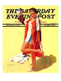 """Woman in Beach Outfit,"" Saturday Evening Post Cover, August 11, 1934 Giclee Print by Charles A. MacLellan"