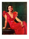 """Low-Cut Red Dress,""January 20, 1934 Giclee Print by Tom Webb"