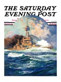 """Battleship at Sea,"" Saturday Evening Post Cover, April 9, 1932 Giclee Print by Anton Otto Fischer"
