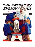 &quot;Circus Clown and Pooch,&quot; Saturday Evening Post Cover, June 3, 1939 Giclee Print by John Sheridan
