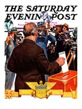 """Candidate Voting,"" Saturday Evening Post Cover, November 7, 1936 Reproduction procédé giclée par Edgar Franklin Wittmack"
