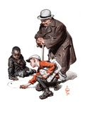 """""""Marbles Game,""""March 28, 1925 Giclee Print by J.C. Leyendecker"""