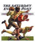 """Quarterback Pass,"" Saturday Evening Post Cover, October 12, 1935 Giclee Print by Maurice Bower"