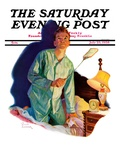 """Nighttime Fly Fight,"" Saturday Evening Post Cover, July 23, 1938 Giclee Print by Russell Sambrook"