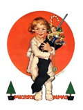 """Giant Christmas Stocking,""December 18, 1926 Giclee Print by Ellen Pyle"