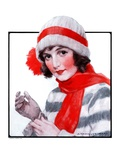 """Woman in Winter Wear,""December 20, 1924 Giclee Print by J. Knowles Hare"