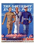 """Army, Navy and Marines,"" Saturday Evening Post Cover, November 13, 1937 Giclee Print by John E. Sheridan"
