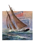 """Yacht and Steamship,""January 23, 1932 Giclee Print by Anton Otto Fischer"