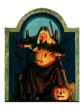 """Witch Carving Pumpkin,""October 27, 1928 Giclee Print by Frederic Stanley"