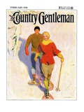 """Couple Wearing Snowshoes,"" Country Gentleman Cover, February 1, 1930 Giclee Print by McClelland Barclay"