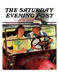 """""""Caught in the Rain,"""" Saturday Evening Post Cover, August 29, 1936 Giclee Print by Albert W. Hampson"""