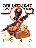"""Baby New Year Ready for War,"" Saturday Evening Post Cover, December 30, 1939 Giclee Print by J.C. Leyendecker"
