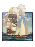 """Ship and Sailboats,""July 16, 1932 Giclee Print by Gordon Grant"