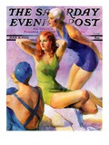 &quot;Three Bathing Beauties,&quot; Saturday Evening Post Cover, July 8, 1933 Giclee Print by John LaGatta