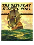 """Spanish Galleon,"" Saturday Evening Post Cover, March 30, 1935 Giclee Print by Anton Otto Fischer"