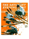 """Ski Jumpers,"" Saturday Evening Post Cover, February 26, 1938 Giclee Print by Ski Weld"