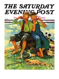 """Harmonica Players,"" Saturday Evening Post Cover, October 6, 1934 Giclee Print by Eugene Iverd"