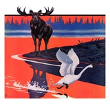 """Moose and White Goose,""March 23, 1935 Giclee Print by Jacob Bates Abbott"