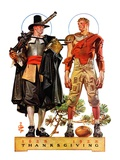 """Thanksgiving, 1628/1928,""November 24, 1928 Giclee Print by Joseph Christian Leyendecker"