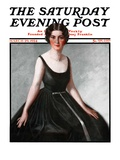 """Woman in Black Gown,"" Saturday Evening Post Cover, March 29, 1924 Giclee Print by Henry Soulen"