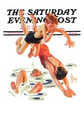 """""""Diving In,"""" Saturday Evening Post Cover, June 8, 1935 Giclee Print by Joseph Christian Leyendecker"""