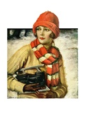 """Woman with Ice Skates,""February 5, 1927 Giclee Print by Edna Crompton"