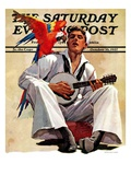 """Singing Sailor and Parrot,"" Saturday Evening Post Cover, October 16, 1937 Giclee Print by John E. Sheridan"