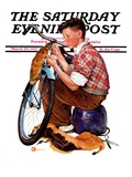 """Decorating His Bike,"" Saturday Evening Post Cover, March 20, 1937 Giclee Print by Douglas Crockwell"