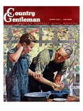 """Washing Up for Supper,"" Country Gentleman Cover, August 1, 1944 Giclee Print by Douglas Crockwell"