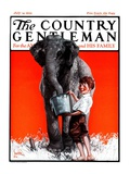 """Watering the Elephant,"" Country Gentleman Cover, July 14, 1923 Giclee Print by F. Lowenheim"