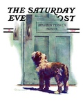 """Dog Waiting for Schoolboy,"" Saturday Evening Post Cover, September 10, 1938 Giclée-tryk af Robert C. Kauffmann"