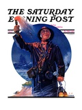 &quot;Signaller,&quot; Saturday Evening Post Cover, December 19, 1931 Giclee Print by J.F. Kernan