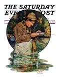 &quot;Tying on a Fly,&quot; Saturday Evening Post Cover, May 25, 1929 Giclee Print by J.F. Kernan