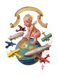 """Airships Circling Baby New Year,""January 2, 1932 Giclee Print by Joseph Christian Leyendecker"