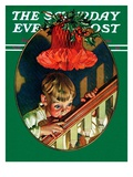 """Christmas Peek,"" Saturday Evening Post Cover, December 23, 1939 Giclee Print by Joseph Christian Leyendecker"