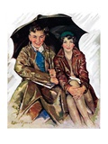 """Couple in Rain,""October 4, 1930 Giclee Print by Ellen Pyle"