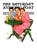 """Girls Sipping Sodas,"" Saturday Evening Post Cover, September 21, 1935 Giclee Print by Ellen Pyle"