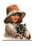 """Girl and Her Cat,""May 10, 1924 Giclee Print by Robert H. Ransley"