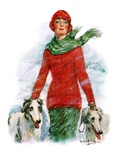 """Lady Walking Dogs in Snow,""December 11, 1926 Giclee Print by William Haskell Coffin"