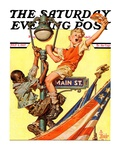 """""""Parade View from Lamp Post,"""" Saturday Evening Post Cover, July 3, 1937 Giclee Print by Joseph Christian Leyendecker"""