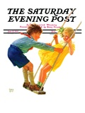 """Children on Swing,"" Saturday Evening Post Cover, June 22, 1935 Giclee Print by Eugene Iverd"