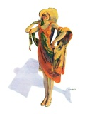 """Beach Costume,""August 9, 1930 Giclee Print by Guy Hoff"