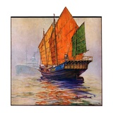 """Chinese Junk,""May 30, 1931 Giclee Print by Anton Otto Fischer"