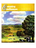 """Farm Landscape,"" Country Gentleman Cover, April 1, 1942 Stampa giclée di J. Steuart Curry"