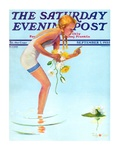"""""""Girl and Water Lilies,"""" Saturday Evening Post Cover, September 7, 1935 Giclee Print by Penrhyn Stanlaws"""