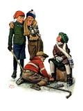 """Hockey Waits, Tying Skates,""December 17, 1927 Giclée-trykk av Alan Foster"